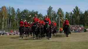 The RCMP Musical Ride performs the wedding march. Sarah Pruys/Cabin Radio