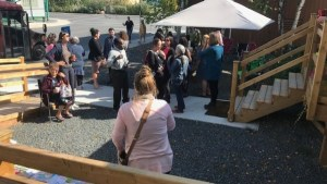 People mingling at NWT Literacy Council announcement for new Canada Learning Bond awareness program on August 27 2019