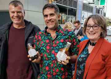 Bullocks sauce aficionado Shai Topaz, centre, with restaurant owners Mark Elson and Jo-Ann Martin