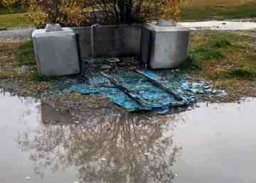 The remains of a vandalized porta-potty at the Parker Park ball diamonds