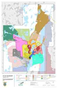 A map identifies the different areas of Yellowknife identified in the community plan.