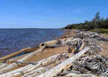Great Slave Lake is seen from a bay near Hay River