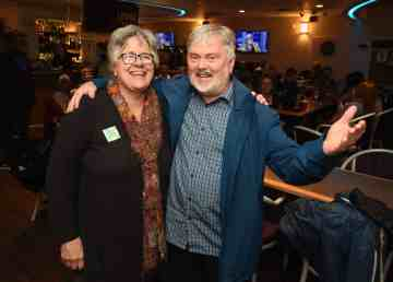 Julie Green and Kevin O'Reilly at candidate party at the Yellowknife Elks lodge #314 October 1st