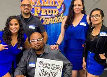 The Hernandez family poses at a Family Feud Canada audition in Yellowknife in September 2019