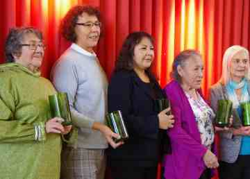 Five of the six recipients of the 2019 Wise Women Awards