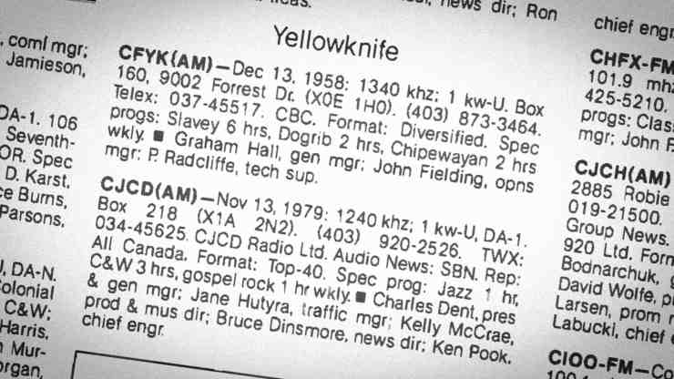 A page from a 1982 broadcasting yearbook shows entries for CFYK (CBC North) and CJCD in Yellowknife