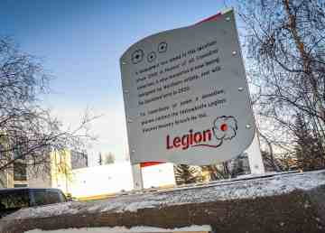 A placeholder for a veterans' memorial monument in Yellowknife