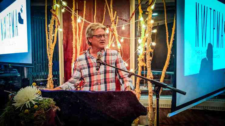 Jean-Francois Pitre speaks at the 2019 NWT Film and Media Awards in Yellowknife