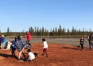 The ball field in Tsiigehtchic