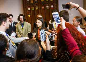 A media scrum after northern youth parliamentarians decided to form their own party