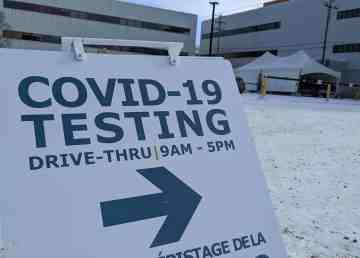 A sign outside a Covid-19 drive-through testing clinic in Yellowknife