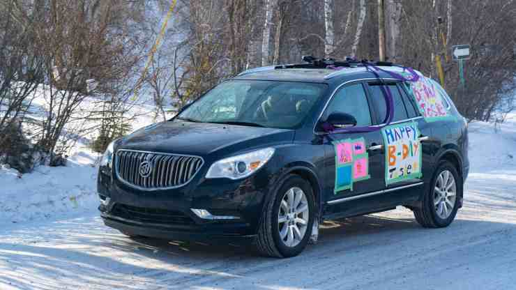 A car participates in a birthday parade for seven-year-old Josephine Copple on March 24, 2020