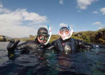 Jeff and Nicola O'Keefe go snorkelling earlier on in their trip, prior to the Covid-19 outbreak