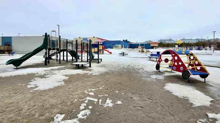 A deserted playground at Yellowknife's NJ Macpherson School in late April 2020