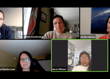 Participants in a sharing circle of Indigenous knowledge-holders are seen during a Zoom conversation
