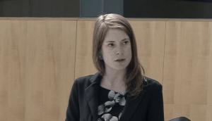 Katrina Nokleby in the NWT's legislature on May 28, 2020