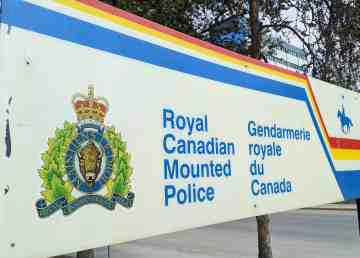 A file photo of an RCMP sign in May 2020. Sarah Pruys/Cabin Radio