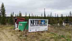 A sign welcomes people to the Northern Farm Training Institute outside of Hay River in June 2020. Sarah Pruys/Cabin Radio