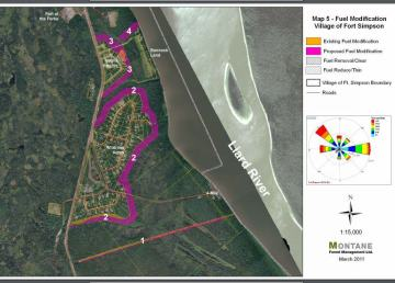 A 2011 map shows land status authorities for the region around Fort Simpson regarding wildfire protection