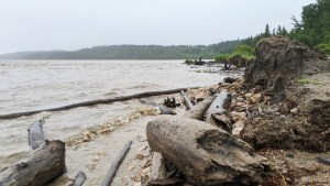 A file photo of high water levels on the Slave River from the Fort Smith boat launch on July 14, 2020