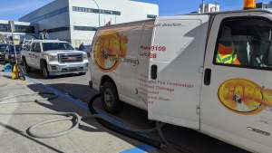 A Carl's Carpet Cleaning van outside Yellowknife's downtown Independent store on August 21, 2020