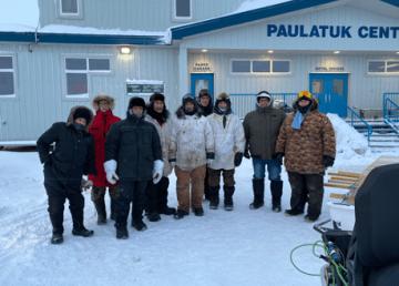 Munaqsiyit monitors and Paulatuk community members participating in SmartICE training in Paulatuk January 2020