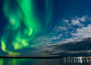 The Northern Lights over Yellowknife are seen from the Giant Mine boat dock on September 28, 2020