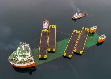 New barges arrive via transport ship