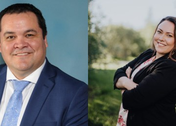 Ken Smith, left, newly elected grand chief, and Kristine McLeod, right, newly elected deputy grand chief of the Gwich'in Tribal Council