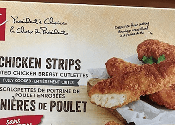 An image of President's Choice chicken strips packaging distributed by the Canadian Food Inspection Agency