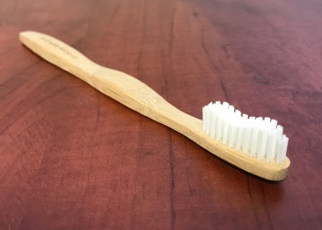 A file photo of a bamboo toothbrush