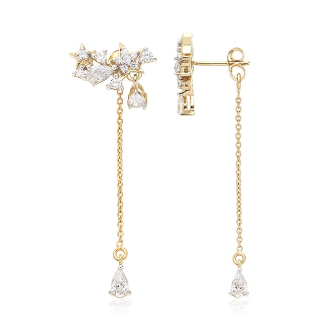 Cabochon Long Drop Ear Jacket combination of Round Brilliants Diamond Simulants 10 x 1.25mm , 6 x 1.50mm,2 x 6mm, Pear Shaped Diamond Simulant 4 x (5x3mm) 2 x (4 x 3) Sterling Silver Rhodium Plated in Yellow Gold.