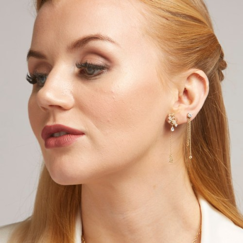 Stunning Cabochon Stud Drop Ashley Earring with 2 x 4mm , 2 x 1.50mm, 2 x 2mm Round Brilliant Diamond Simulant Sterling Silver Rhodium Plated in Yellow Gold.