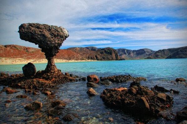 mushroom rock at the famous balandra beach in La Paz, Mexico