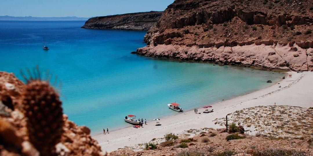 beautiful bay at espiritu santo island off La Paz Mexico