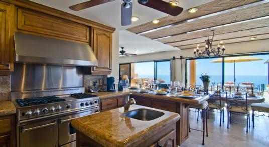 Casa Mega point is one of los cabos most sought after luxury vacation villas for bachelor parties kitchen