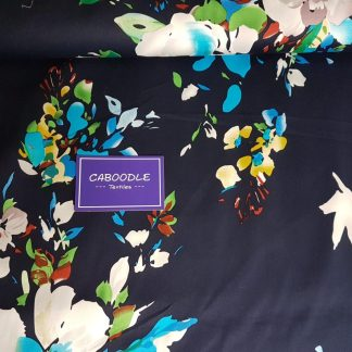 Blue Floral Print Jardin Stretch Cotton Sateen Fabric