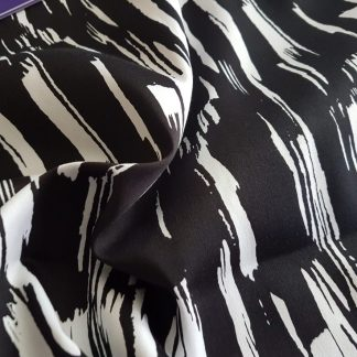 Black and White Jardin Stretch Cotton Sateen Fabric