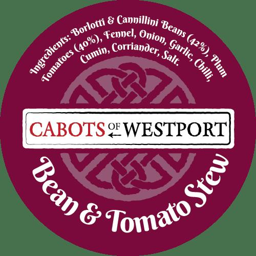 bean and tomato stew pot label