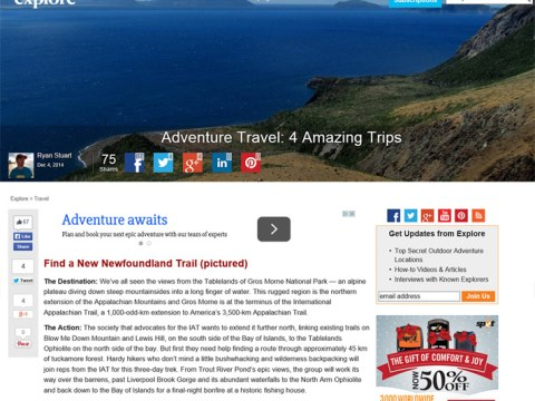 IATNL Trek Listed #1 by Explore Magazine