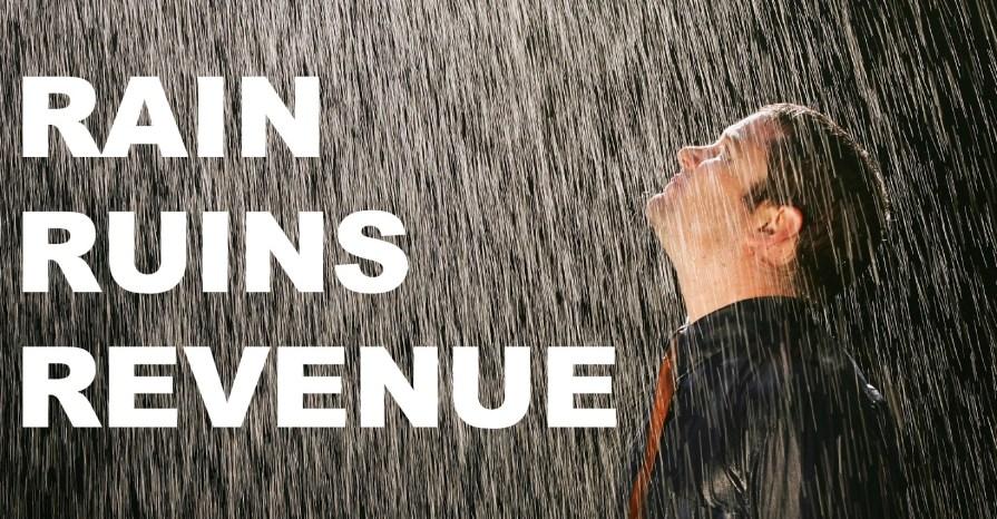 Rain ruins revenue
