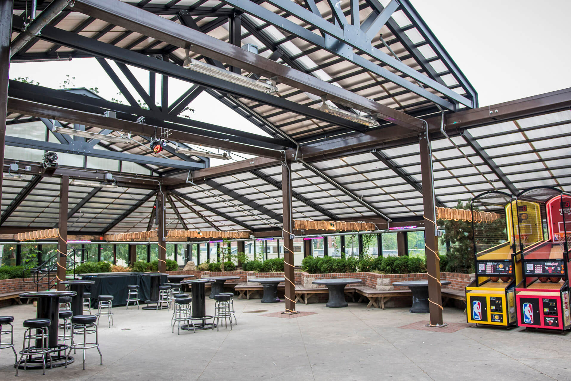Kilroys outdoor patio with retractable roof and opening walls
