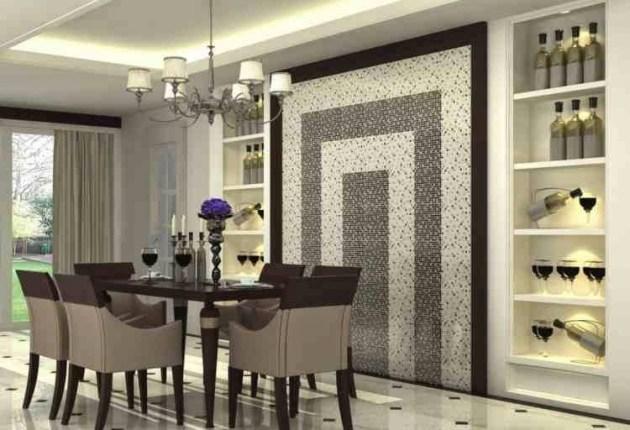 Modern Dining Room Wall Decor, Glossy Mosaic Wall And Decorative Shelves - Cabritonyc.com
