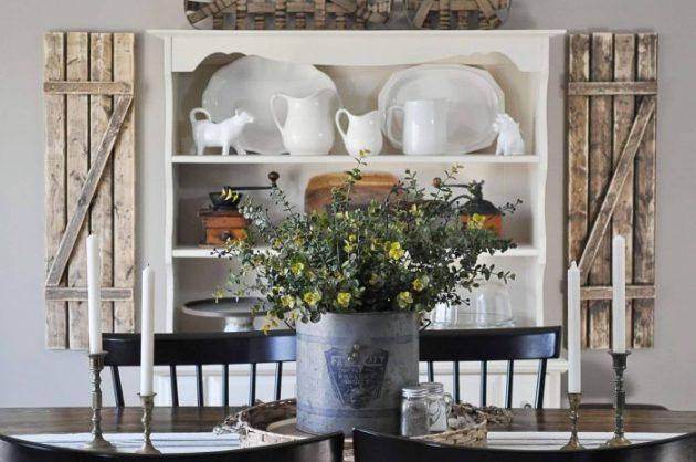 Dining Room Wall Decor Ideas - A Floral Centerpiece with an Old Farmhouse Backdrop - Cabritonyc.com