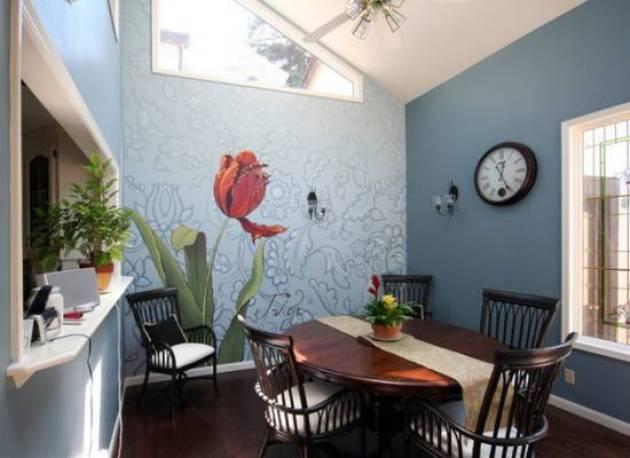 5. Stunning Dining Room Wall Decor With Mural - Cabritonyc.com
