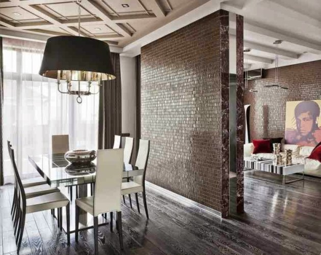 Luxury Dining Room Wall Decor Ideas, Glossy Partition And Wooden Floor - Cabritonyc.com