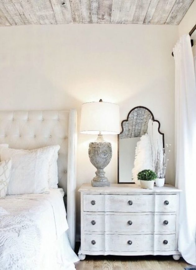 c Vintage Whitewashed Wooden Bedside Bureau - Cabritonyc.com