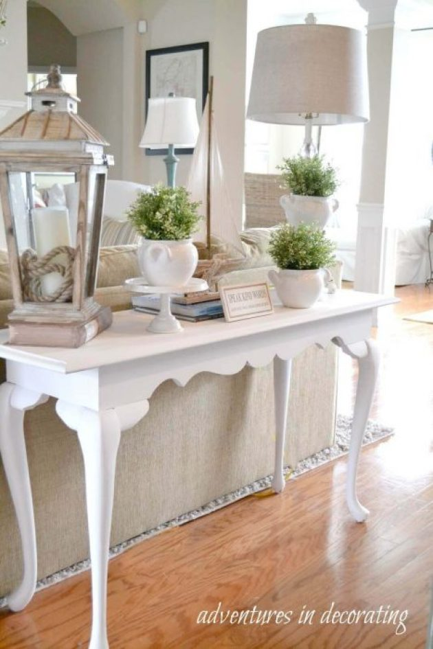 French Country Decor Ideas - White Couch Table with Oversized Accessories - Cabritonyc.com