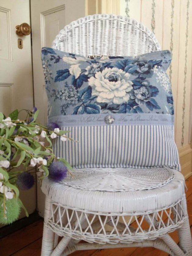 French Country Decor Ideas - White Wicker Chair with Blue Toile Pillow - Cabritonyc.com