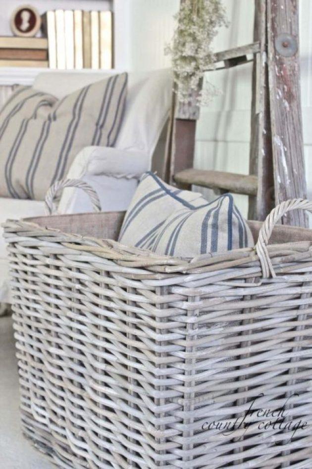 French Country Decor Ideas - Simple White Wicker Storage Basket - Cabritonyc.com